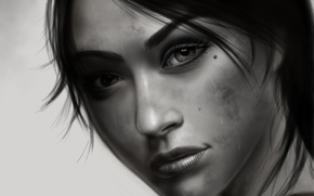 Picture eyes, look, girl, face, background, hair, black and white, art, Tomb Raider, lara croft