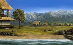 Picture landscape, mountains, river, stones, boat, home, village, art