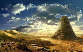 Wallpaper rock, fiction, art, nature, the sky, desert, stones
