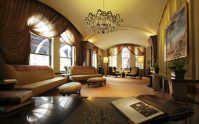 Wallpaper light, design, reflection, table, room, Windows, interior, picture, chandelier, book, twilight, curtains, sofas, room, interior