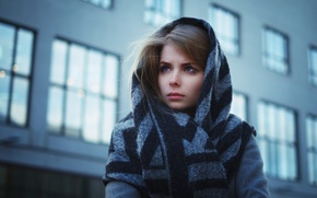 Picture look, girl, face, clothing, the building, Windows, scarf, brown hair, coat, young, blue-eyed, beauty, bokeh, …