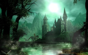 Wallpaper fantasy, night, rider, castle