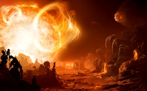 Picture star, planet, Gliese 876d