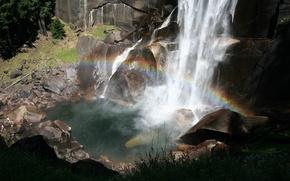 Wallpaper rainbow, the rift, captures, waterfall, rocks, power
