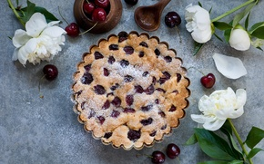 Picture cherry, pie, cakes, sweet, peonies, Anna Verdina