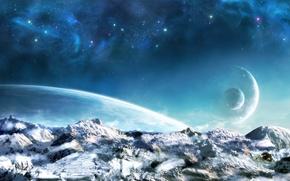 Picture star, blue, cloud, mountain, fog, planet, cosmic nebula