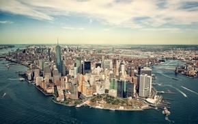 Picture sea, coast, New York, panorama, Bay, USA, Manhattan, megapolis