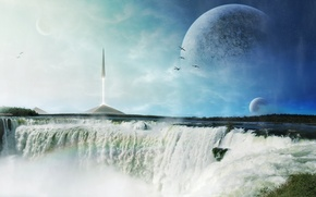Wallpaper foam, birds, planet, ship, waterfall, rocket, art, pyramid, spire