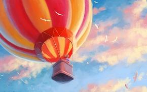 Picture girl, clouds, birds, balloon, art