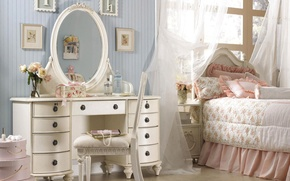 Wallpaper pink, pillow, mirror, pictures, bedroom, chest, ruffles
