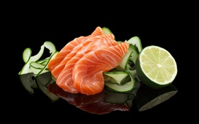 Wallpaper cucumbers, lemons, seafood, fillet, fish, cutting