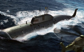 Picture figure, art, helicopter, the project 971, Akula, multipurpose nuclear submarine of the third generation, Pike-B