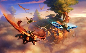Picture clouds, flight, the city, rock, tree, dragons, fantasy, art, creatures, riders, Rhino, riders, in the ...