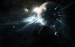 Picture space, rays, light, space, planet