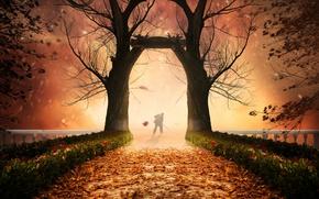 Picture autumn, trees, foliage, people, photoshop, the bridge