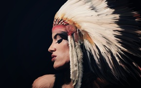 Picture girl, face, background, headdress