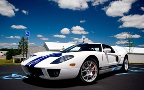 Picture white, ford, blue, stripes, gt