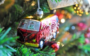 Picture branches, toy, tree, spruce, Volkswagen, New Year, Christmas, bus, Christmas, New Year, Christmas