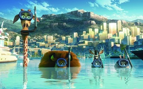 Picture the sky, water, the city, building, cartoon, mask, structure, Madagascar 3, Alex The Lion, Hippo …