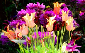 Picture line, flowers, abstraction, paint, tulips