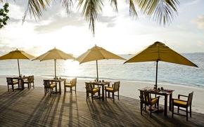 Picture sea, beach, restaurant, restaurant on the beach
