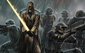 Wallpaper Jedi, rain, sword, clones, Star Wars