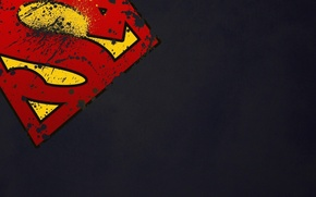 Picture grey, background, minimalism, symbol, Super Man