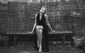 Picture feet, dress, blonde, black and white, Gabriella Wilde