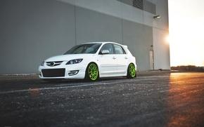Picture white, Speed, Mazda 3, tuning, Mazda