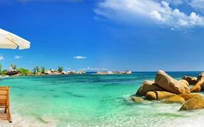 Picture sand, sea, beach, tropics, stones, palm trees, umbrella, coast, chairs, beach, coast, umbrella, sand, stones, ...