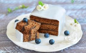 Wallpaper cake, glaze, blueberries