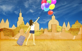 Picture sand, summer, the sky, girl, balls, stay, collage, shorts, building, vacation, suitcase, silhouettes