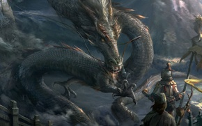 Picture dragon, fantasy, art, claws, snakes, defenders