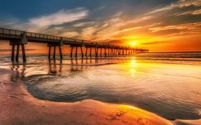 Picture sand, sea, the sky, clouds, sunset, traces, people, shore, pier, pierce