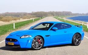 Picture road, grass, trees, lake, blue, Jaguar, Jaguar, grass, road, blue, lake, tree, XKR-S