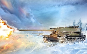 Picture winter, snow, fire, flame, figure, shot, art, tank, battlefield, heavy, Is-7, Soviet, World of Tanks