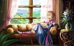 Picture flowers, birds, sofa, window, resting, alice margatroid