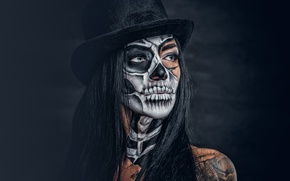Picture sake, female, makeup, day of the dead