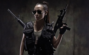 Picture girl, weapons, machine, girl, warrior, uzi