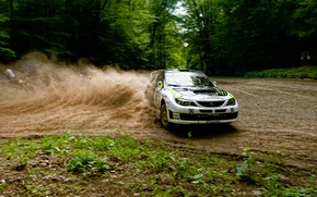 Picture forest, speed, skid, race, subaru