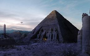 Wallpaper Egypt, Pyramid, the airship, fire