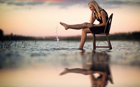 Picture water, girl, joy, reflection, splash, chair