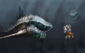 Picture sea, people, crab, predators, art, chain, sharks, under water, hunger, hook, scuba, Megalodon