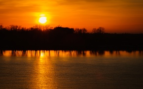 Picture the sky, water, the sun, trees, sunset, yellow, reflection, river