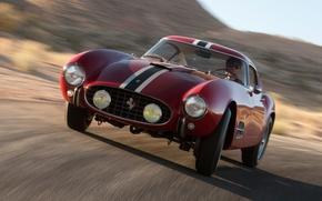 Picture red, background, turn, Ferrari, Ferrari, classic, the front, 1957, beautiful car, Berlinetta, 250 GT, 14 …