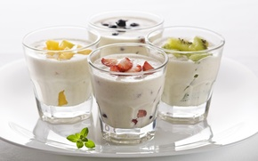 Picture kiwi, strawberry, fruit, yogurt