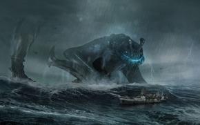 Picture sea, the storm, wave, storm, rain, ship, monster, storm, giant, pacific rim, gull, Otachi