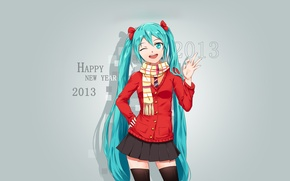 Picture girl, background, art, vocaloid, hatsune miku, congratulations, 2013, tristana-shen
