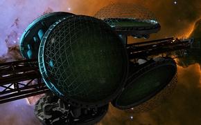 Picture stars, spaceship, biospheres