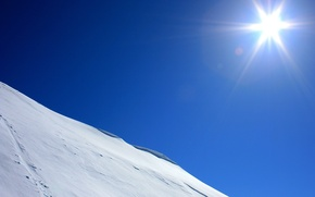 Wallpaper the sun, slope, blue, snow